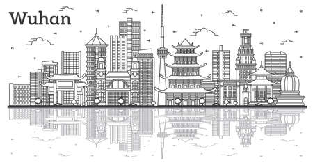 Outline Wuhan China City Skyline with Modern Buildings and Reflections Isolated on White. Vector Illustration. Wuhan Cityscape with Landmarks.