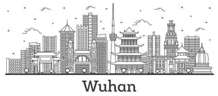 Outline Wuhan China City Skyline with Modern Buildings Isolated on White. Vector Illustration. Wuhan Cityscape with Landmarks. 일러스트