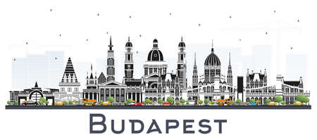Budapest Hungary City Skyline with Gray Buildings Isolated on White. Vector Illustration. Business Travel and Tourism Concept with Historic Architecture. Budapest Cityscape with Landmarks.