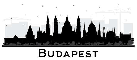 Budapest Hungary City Skyline Silhouette with Black Buildings Isolated on White. Vector Illustration. Business Travel and Tourism Concept with Historic Architecture. Budapest Cityscape with Landmarks.