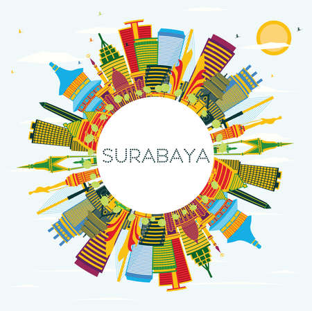 Surabaya Indonesia City Skyline with Color Buildings, Blue Sky and Copy Space. Vector Illustration. Business Travel and Tourism Concept with Modern Architecture. Surabaya Cityscape with Landmarks.