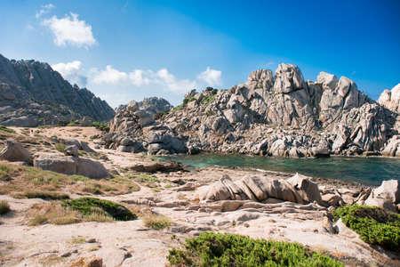 Cliff and Rocks on Mediterranean Sea. Landscape of Valley Of The Moon (Valle della Luna) Capo Testa, Sardinia, Italy.