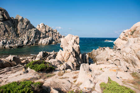 Rocks and Mediterranean Sea. Landscape of Valley Of The Moon (Valle della Luna) Capo Testa, Sardinia, Italy. Stock Photo