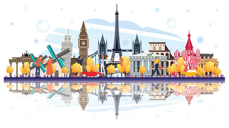 Famous Landmarks in Europe with Reflections Isolated on White. Tourists Walking Near of Buildings. Vector Illustration. Business Travel and Tourism Concept. Image for Presentation, Banner, Placard and Web Site. Paris. Berlin. Moscow.