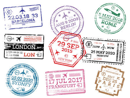 Collection of Passport Stamps Isolated on White. Vector Illustration. Set from Different Countries and Cities. London. New York. Moscow. Paris. Barcelona. Rome.