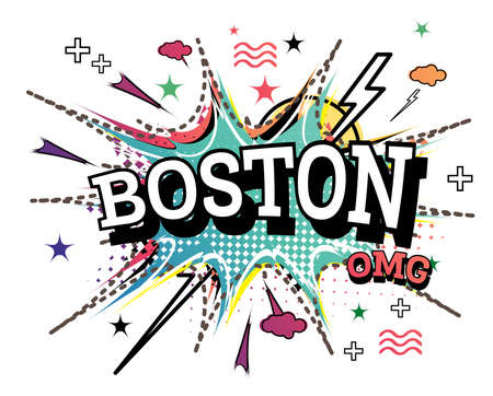 Boston Comic Text in Pop Art Style Isolated on White Background. Vector Illustration.