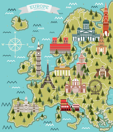 Europe Map with Famous Landmarks. Vector Illustration. Travel and Tourism Concept. Иллюстрация