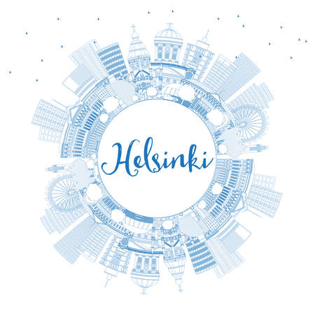 Outline Helsinki Finland City Skyline with Blue Buildings and Copy Space. Vector Illustration. Business Travel and Concept with Historic Architecture. Helsinki Cityscape with Landmarks.