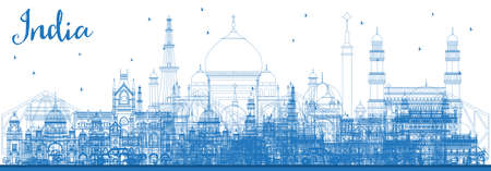 Outline India City Skyline with Blue Buildings. Delhi. Hyderabad. Kolkata. Vector Illustration. Travel and Tourism Concept with Famous Historic Architecture. India Cityscape with Landmarks. Vetores
