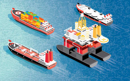 Isometric Oil Rig, Cargo Ship Container, LNG Carrier Ship and Oil Tanker. Vector Illustration. Shipping Freight Transportation.