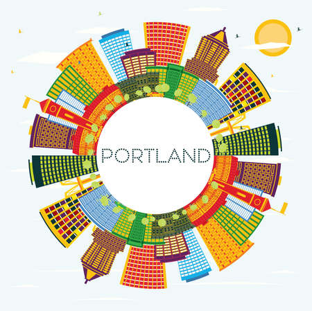 Portland Oregon City Skyline with Color Buildings, Blue Sky and Copy Space. Vector Illustration. Business Travel and Tourism Concept with Modern Architecture. Portland Cityscape with Landmarks.