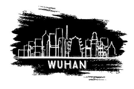 Wuhan China City Skyline Silhouette. Hand Drawn Sketch. Vector Illustration. Business Travel and Tourism Concept with Modern Architecture. Wuhan Cityscape with Landmarks.