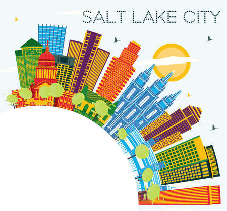 Salt Lake City Utah Skyline with Color Buildings, Blue Sky and Copy Space. Vector Illustration. Business Travel and Tourism Concept with Historic Architecture. Salt Lake City Cityscape with Landmarks.