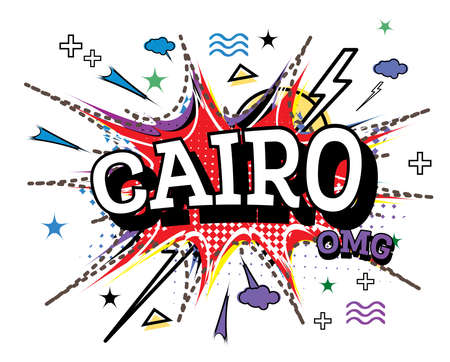 Cairo Comic Text in Pop Art Style Isolated on White Background. Vector Illustration.