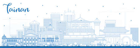 Outline Tainan Taiwan City Skyline with Blue Buildings. Vector Illustration. Business Travel and Tourism Concept with Historic Architecture. Tainan Cityscape with Landmarks.