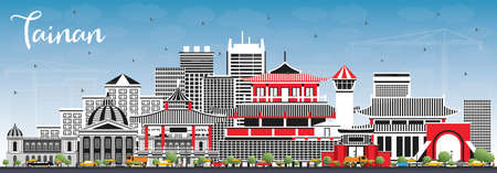 Tainan Taiwan City Skyline with Gray Buildings and Blue Sky. Vector Illustration. Business Travel and Tourism Concept with Historic Architecture. Tainan Cityscape with Landmarks.
