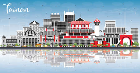 Tainan Taiwan City Skyline with Gray Buildings, Blue Sky and Reflections. Vector Illustration. Business Travel and Tourism Concept with Historic Architecture. Tainan Cityscape with Landmarks.
