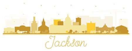 Jackson Mississippi City Skyline Silhouette with Golden Buildings Isolated on White. Vector Illustration. Tourism Concept with Historic Architecture. Jackson USA Cityscape with Landmarks. 일러스트