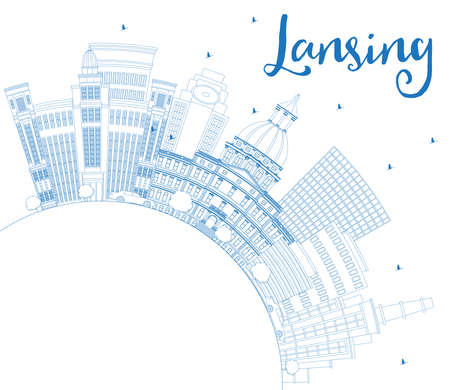 Outline Lansing Michigan City Skyline with Blue Buildings and Copy Space. Vector Illustration. Business Travel and Concept with Historic Architecture. Lansing USA Cityscape with Landmarks.