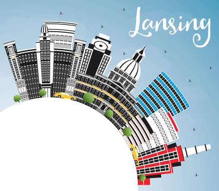 Lansing Michigan City Skyline with Color Buildings, Blue Sky and Copy Space. Vector Illustration. Business Travel and Concept with Historic Architecture. Lansing USA Cityscape with Landmarks.