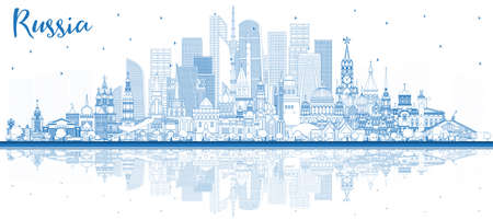 Outline Russia City Skyline with Blue Buildings and Reflections. Vector Illustration. Tourism Concept with Historic Architecture. Russia Cityscape with Landmarks. Moscow. Saint Petersburg. Yekaterinbu