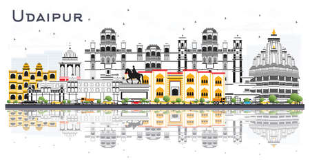 Udaipur India City Skyline with Color Buildings and Reflections Isolated on White. Vector Illustration. Business Travel and Tourism Concept with Historic Architecture. Udaipur Cityscape with Landmarks