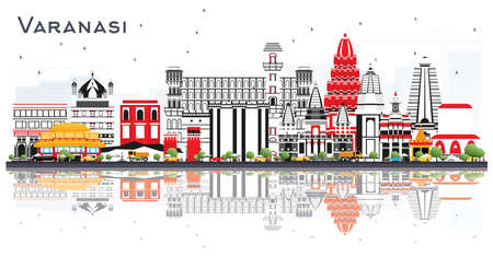 Varanasi India City Skyline with Color Buildings and Reflections Isolated on White. Vector Illustration. Business Travel and Tourism Concept with Historic Architecture. Varanasi Cityscape with Landmar