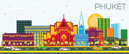 Phuket Thailand City Skyline with Color Buildings and Blue Sky. Vector Illustration. Business Travel and Tourism Concept with Modern Architecture. Phuket Cityscape with Landmarks.