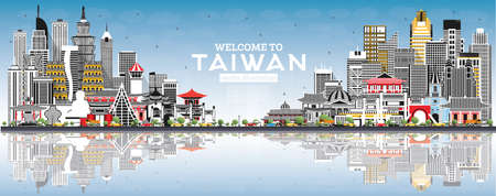 Welcome to Taiwan City Skyline with Gray Buildings, Blue Sky and Reflections. Vector Illustration. Tourism Concept with Historic Architecture. Taiwan Cityscape with Landmarks. Taipei. Kaohsiung. Taichung. Tainan.