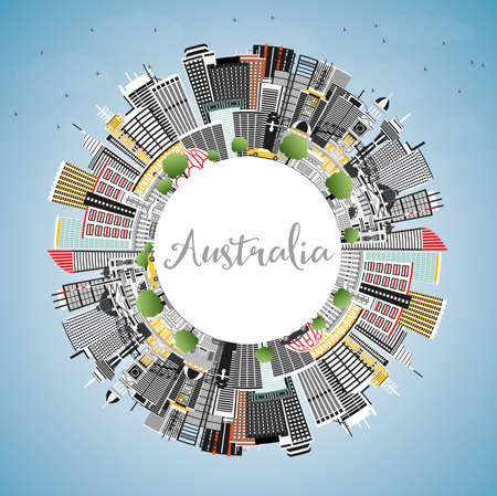 Australia City Skyline with Gray Buildings, Blue Sky and Copy Space. Vector Illustration. Tourism Concept with Historic Architecture. Australia Cityscape with Landmarks. Sydney. Melbourne. Canberra. Illustration