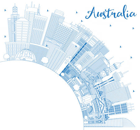 Outline Australia City Skyline with Blue Buildings and Copy Space. Vector Illustration. Tourism Concept with Historic Architecture. Australia Cityscape with Landmarks. Sydney. Melbourne. Canberra.