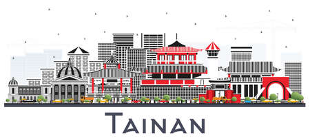 Tainan Taiwan City Skyline with Gray Buildings Isolated on White. Vector Illustration. Business Travel and Tourism Concept with Historic Architecture. Tainan Cityscape with Landmarks.