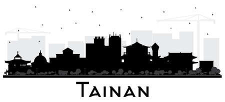 Tainan Taiwan City Skyline Silhouette with Black Buildings Isolated on White. Vector Illustration. Business Travel and Tourism Concept with Historic Architecture. Tainan Cityscape with Landmarks.