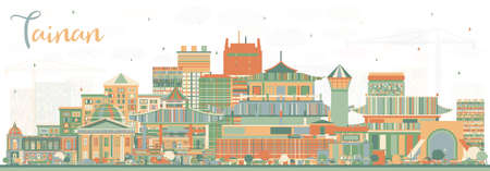 Tainan Taiwan City Skyline with Color Buildings. Vector Illustration. Business Travel and Tourism Concept with Historic Architecture. Tainan Cityscape with Landmarks. Vector Illustration