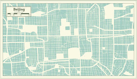 Beijing China City Map in Retro Style. Outline Map. Vector Illustration.