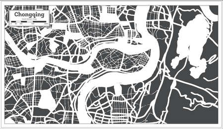 Chongqing China City Map in Retro Style. Outline Map. Vector Illustration. 写真素材 - 141939898