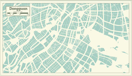 Dongguan China City Map in Retro Style. Outline Map. Vector Illustration.