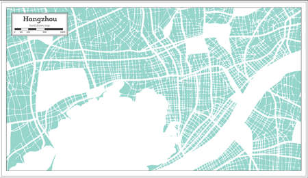 Hangzhou China City Map in Retro Style. Outline Map. Vector Illustration.