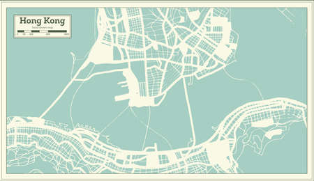 Hong Kong China City Map in Retro Style. Outline Map. Vector Illustration.