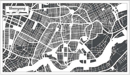 Shenyang China City Map in Retro Style. Outline Map. Vector Illustration. 写真素材 - 141939902