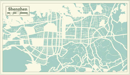 Shenzhen China City Map in Retro Style. Outline Map. Vector Illustration.  イラスト・ベクター素材
