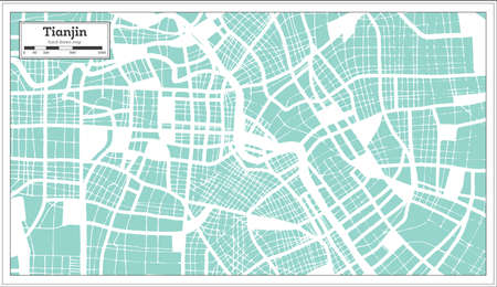 Tianjin China City Map in Retro Style. Outline Map. Vector Illustration. 写真素材 - 141939888