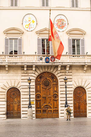 Rome. Italy - March 22, 2017: The Palace of Spain on Rome. Embassy of Spain to the Holy See. Main Door of the Embassy. Editorial
