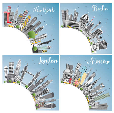 London, Berlin, Moscow and New York City Skyline with Gray Skyscrapers, Blue Sky and Copy Space. Vector Illustration. Business Travel and Tourism Concept with Modern Architecture. Cityscapes with Landmarks.