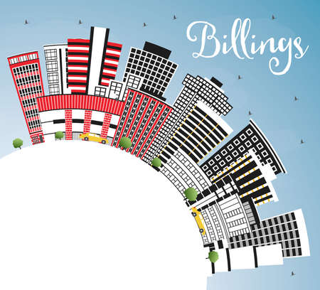 Billings Montana City Skyline with Color Buildings, Blue Sky and Copy Space. Vector Illustration. Business Travel and Tourism Concept with Modern Architecture. Billings USA Cityscape with Landmarks.