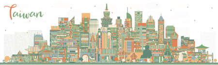 Taiwan City Skyline with Color Buildings. Vector Illustration. Tourism Concept with Historic Architecture. Taiwan Cityscape with Landmarks. Taipei. Kaohsiung. Taichung. Tainan.