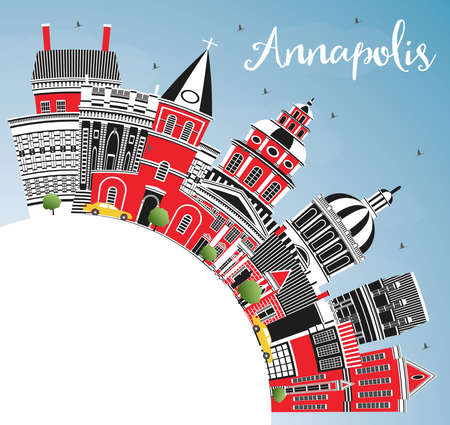 Annapolis Maryland City Skyline with Color Buildings, Blue Sky and Copy Space. Vector Illustration. Business Travel and Tourism Concept with Historic Architecture. Annapolis USA Cityscape.