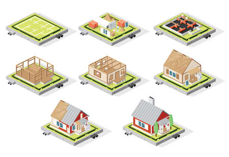 Isometric House Construction Phases Isolated on White. Vector Illustration. Stages from Plan to Finished Building.