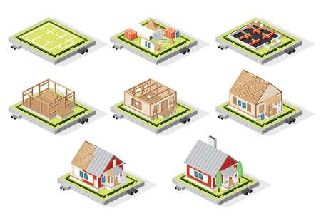 Isometrische Hausbauphasen, Isolated on White. Vektor-Illustration. Phasen vom Plan bis zum fertigen Gebäude.