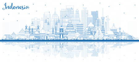 Outline Indonesia Cities Skyline with Blue Buildings and Reflections. Vector Illustration. Tourism Concept with Historic Architecture. Indonesia Cityscape with Landmarks. Jakarta. Surabaya. Bekasi. Illustration